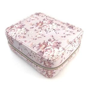 Vintage Pink Floral Travel Jewelry Organizer Box